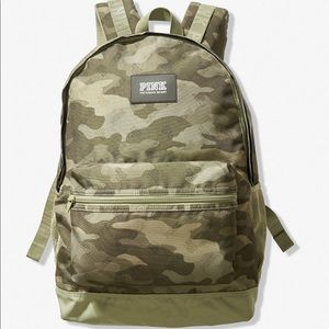 Pink Campus Green Camouflage Backpack